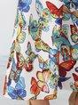Butterfly Sleeveless Pockets Shift V Neck Maxi Dress