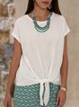 White Lace-Up Short Sleeve Top