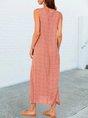 Orange Holiday Pockets Shift Maxi Dress