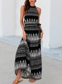 Black Printed Sleeveless Shift Halter  With Belt Maxi Dress