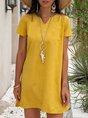 Shift Casual Plain Midi Dress