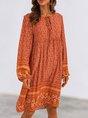 Orange Long Sleeve Floral Shift Boho Mini Dress