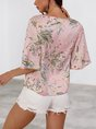 Pink Holiday Shift Floral Crew Neck Top