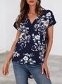 Blue Holiday V Neck Shift Top