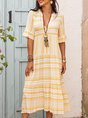 Yellow Striped Short Sleeve Dress