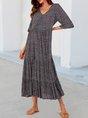 Black Half Sleeve Floral V Neck Midi Dress