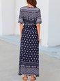 Blue Short Sleeve Floral Printed V Neck  With Belt Maxi Dress