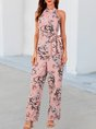 Pink Printed Sleeveless Halter Floral One-Pieces With Belt Jumpsuit