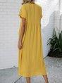 V Neck Yellow  A-Line Boho Tribal Midi Dress