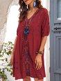 Red Short Sleeve A-Line Floral Paneled Dress