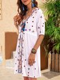 White Floral Half Sleeve Cotton-Blend Printed Dress