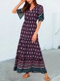 Blue V Neck Holiday Printed Tribal Maxi Dress