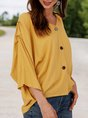 Yellow V Neck 3/4 Sleeve Solid Top