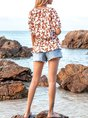 Yellow Holiday Crew Neck Floral Ruffled Top
