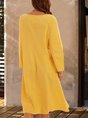 Long Sleeve A-Line  Casual Midi Dress