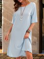 Blue A-Line Cotton Casual Half Sleeve Midi Dress