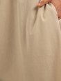 Apricot Crew Neck  Shift Short Sleeve Midi Dress