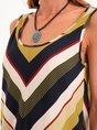 Yellow Green Casual Stripes Maxi Dress