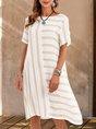 Paneled Short Sleeve Crew Neck Stripes Mini Dress