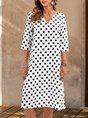 V Neck White Midi Dresses Shift Daily Polka Dots Dresses