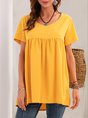 Yellow V Neck Solid Shift Short Sleeve Top