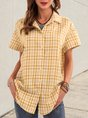 Yellow Casual Plaid Short Sleeve Blouse