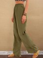 Olive Green Casual Plain Cotton Pant