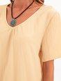 Apricot Shift Short Sleeve Polyester Fibre Plain Top