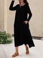 Pockets Short Sleeve Solid Simple Midi Dress
