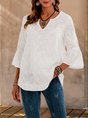 White Solid Embroidered Holiday V Neck Top