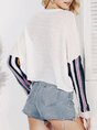 Batwing Striped Paneled Casual Sweater
