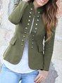 Buttoned Sheath Elegant Cropped Jacket