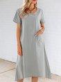 Grey Green A-Line Crew Neck Mini Dress