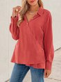 Red Long Sleeve V Neck Top