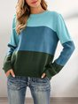 Green Shift Stripes Crew Neck Casual Sweater