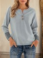 Gray V Neck Long Sleeve Buttoned Solid Sweater