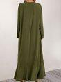 Olive Green Long Sleeve Crew Neck Maxi Dress