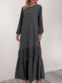 Deep Gray Long Sleeve Plain Crew Neck Maxi Dress