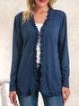 Blue Plain Casual Outerwear