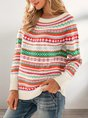 Crew Neck Tribal  Long Sleeve Sweater