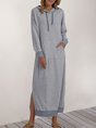 Gray Long Sleeve Hoodie Shift Maxi Dress