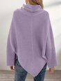 Purple Acrylic Plain Long Sleeve Casual Sweater