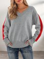 Gray V Neck Solid Shift Long Sleeve Sweater