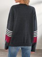 Black Casual Crew Neck Sweater