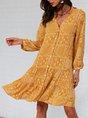 Yellow Buttoned Tribal Shift Long Sleeve Mini Dress