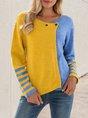 Blue Casual Shift Color-block Sweater