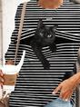 Cotton-Blend Animal Casual Crew Neck Top