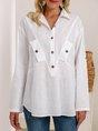White Plain Cotton-Blend Shift Long Sleeve Shirts Top