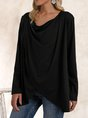Black Plain Long Sleeve Shift Cowl Neck Top