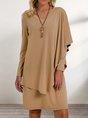 Khaki Long Sleeve Shift Mini Dress